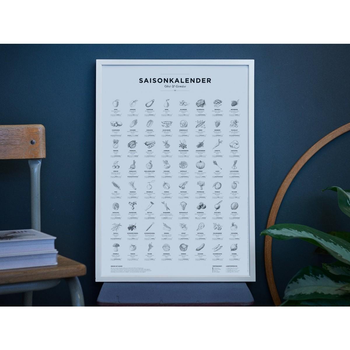 Saisonkalender Obst & Gemüse, Poster/Plakat in Schwarz-Weiß von Kupferstecher.Art