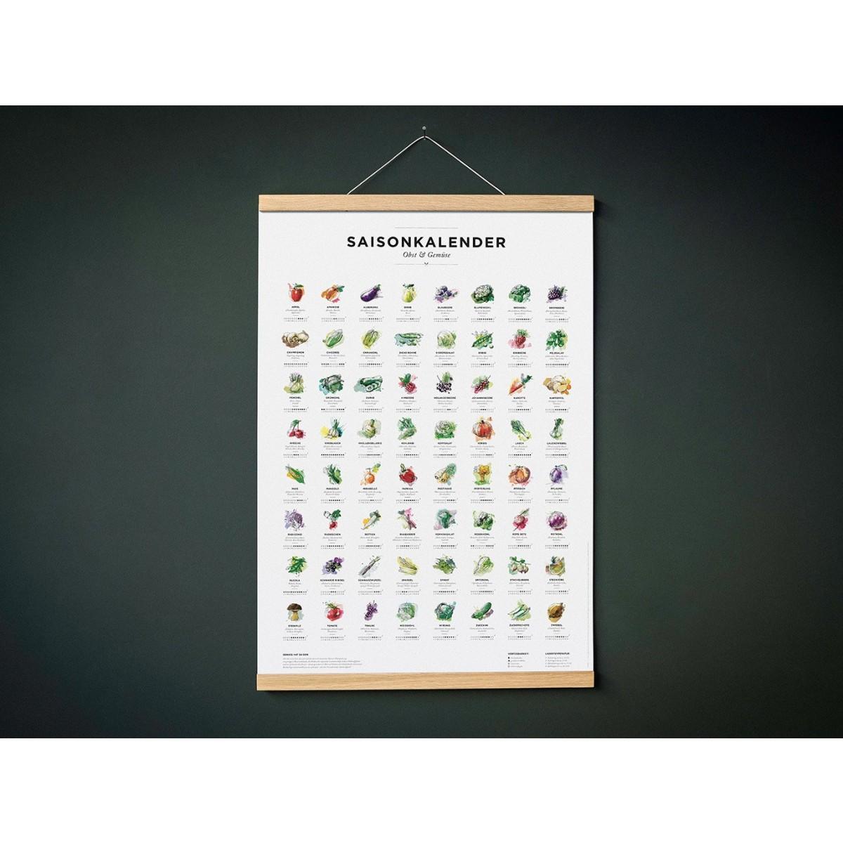 Saisonkalender Obst & Gemüse, Poster/Plakat in Farbe von Kupferstecher.Art