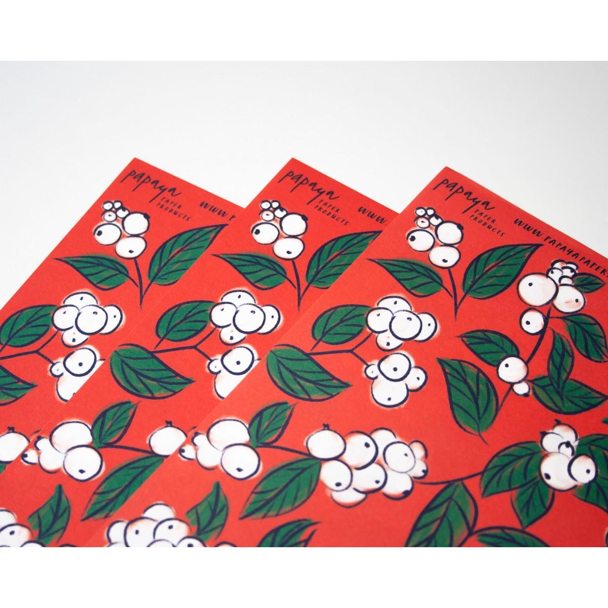 Geschenkpapier Schneebeeren, 3 Bogen // Papaya paper products