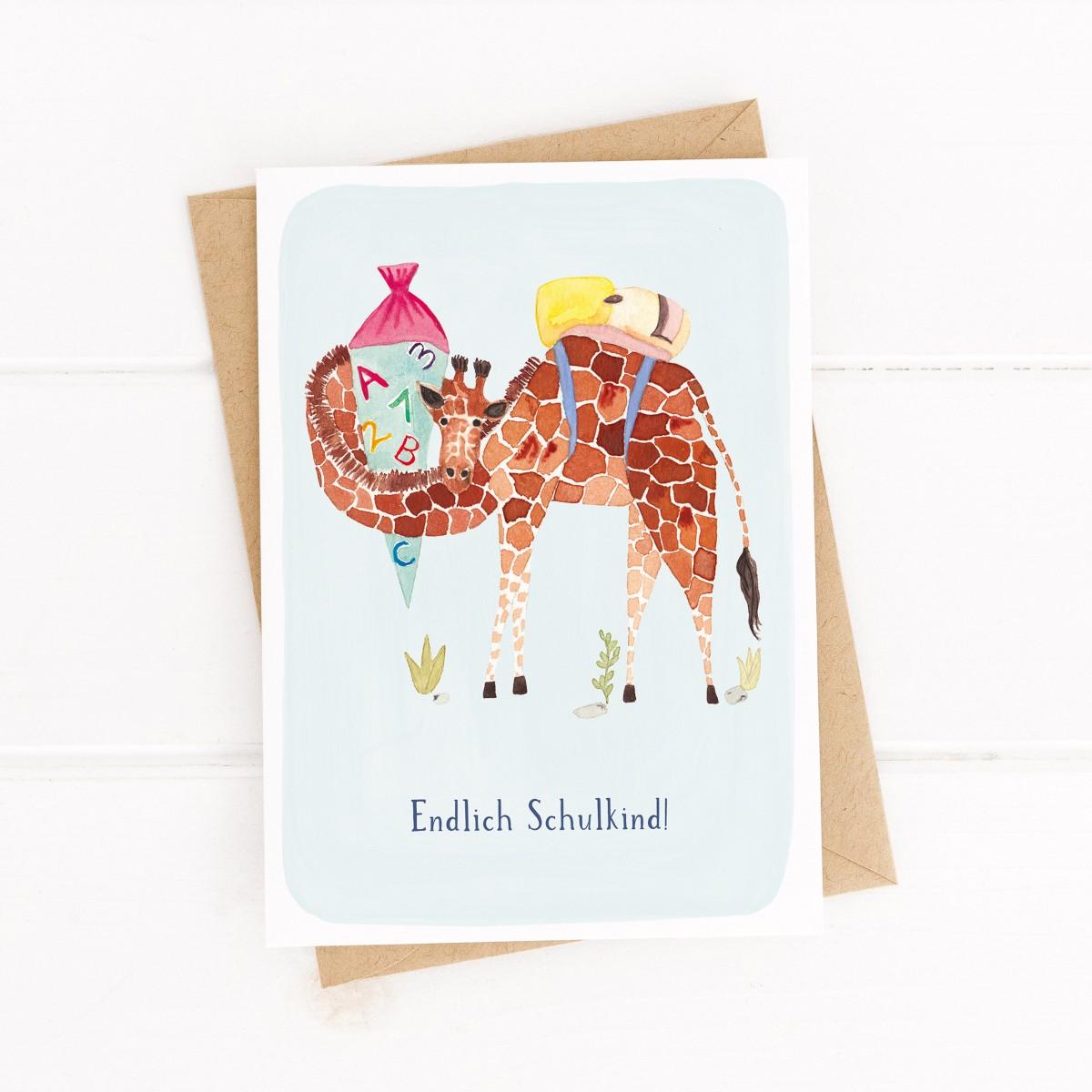 Paperlandscape | Faltkarte | Endlich Schulkind | Giraffe | Einschulungskarte