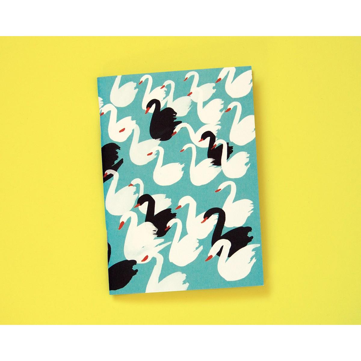 Notizheft A6 Schwäne hellblau // Papaya paper products