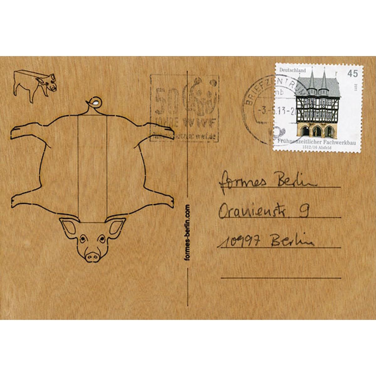 formes Berlin Schwein-Karten - 6 Postkarten aus Holz