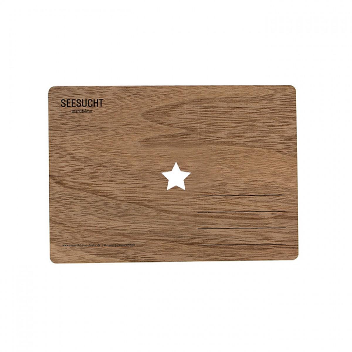 """Seesucht Manufaktur Holzkarte """"Stern"""""""