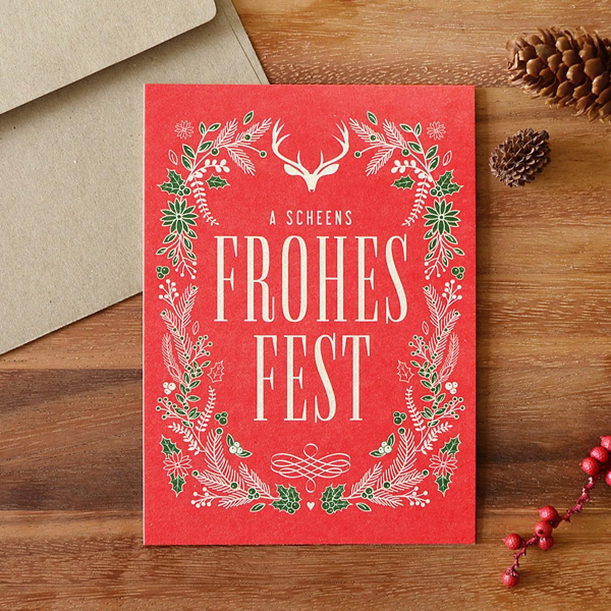 HEIMATFORMAT Bayerische WeihnachtskarteFROHES FEST // Inkl. Naturpapier-Kuvert
