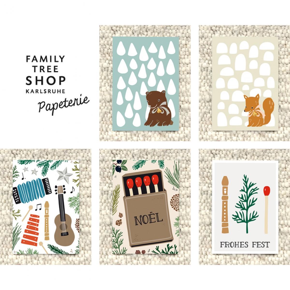 """Family Tree Shop Postkartenset """"Weihnachten für Kinder"""" / 5 Stück"""