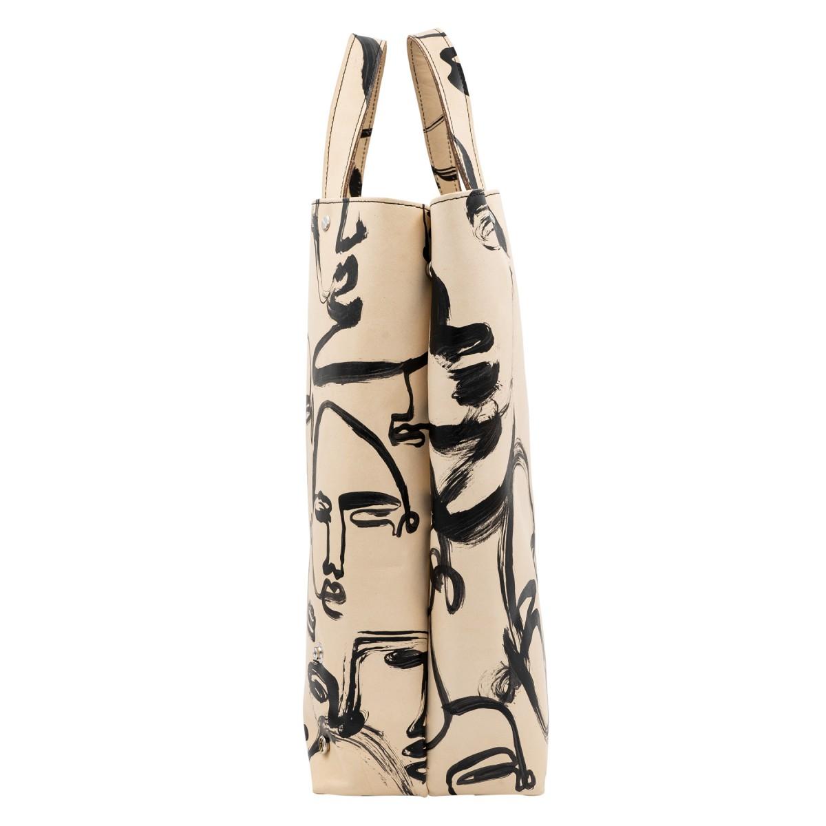 Shopper handbemalt × Artemis Wolf – aus premium pflanzlich gegerbtem Olivenleder®