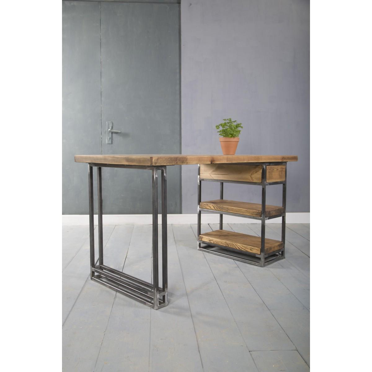 FraaiBerlin - Kleiner Schreibtisch aus Bauholz Siara, 140 x 70 cm