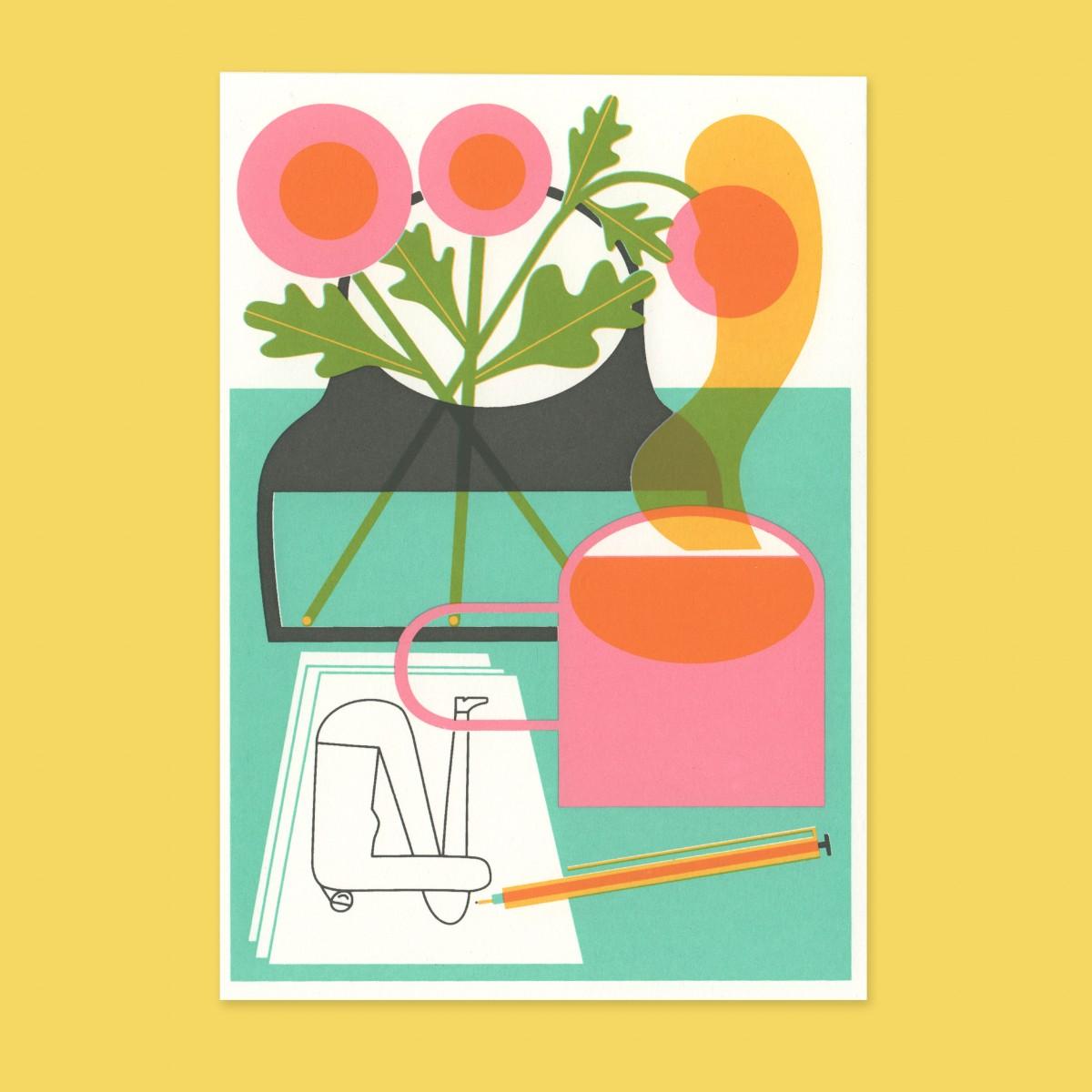 Anne Albert – Flowers + Tea – Siebdruck (17,6 x 12,2 cm)