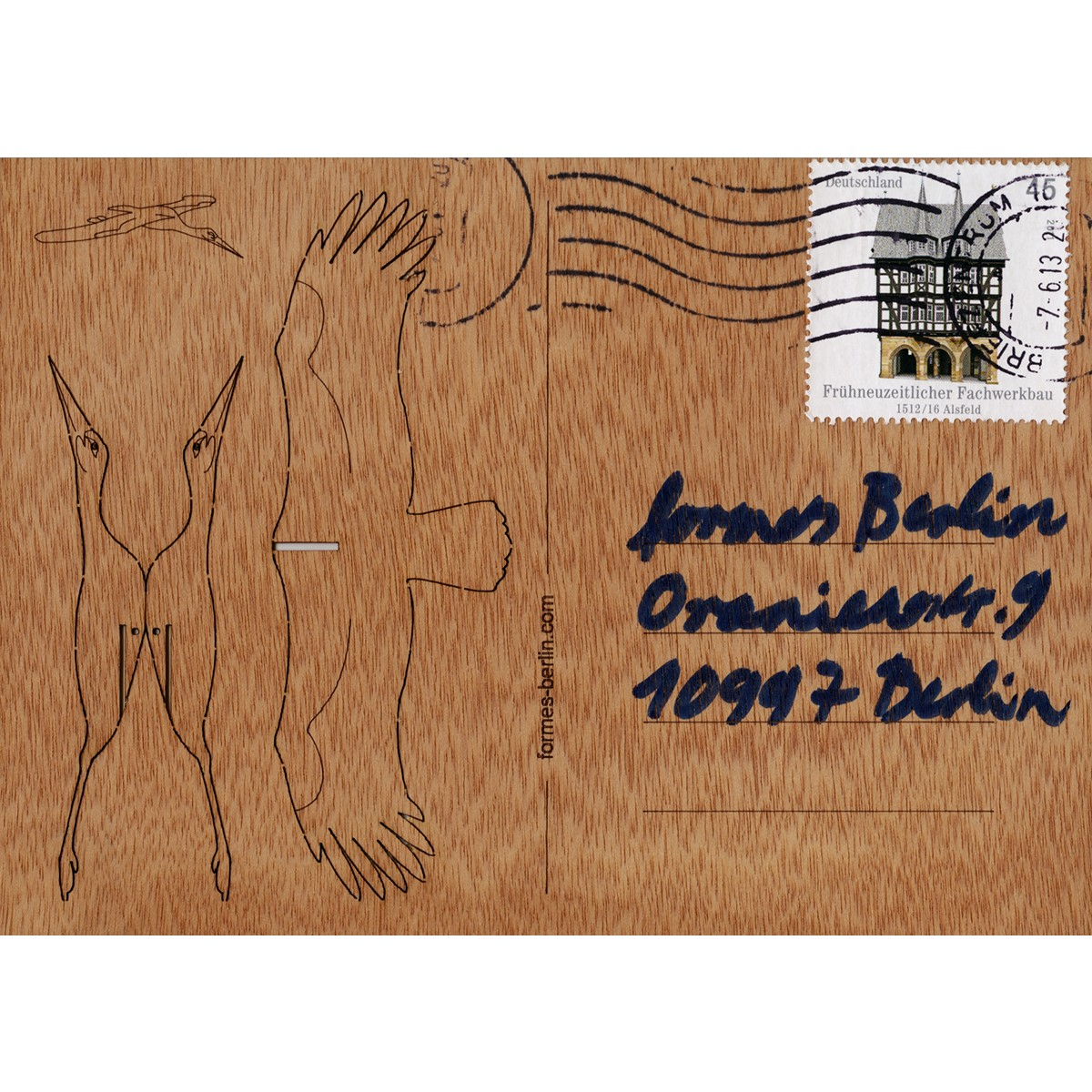 formes Berlin Storch-Karten - 6 Postkarten aus Holz