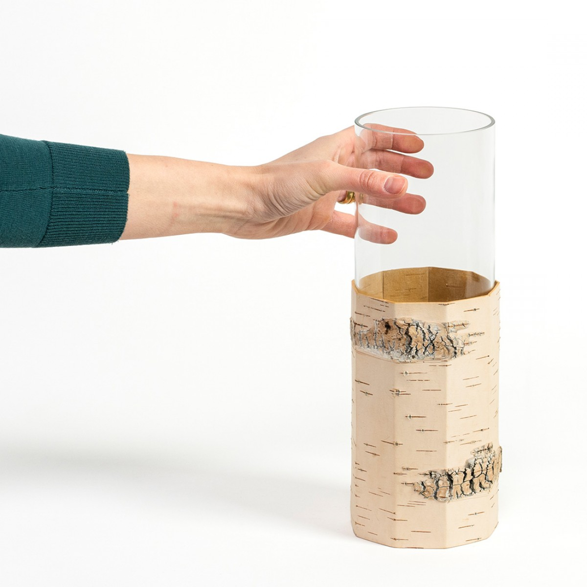 Vase / Blumenvase aus Birkenrinde und Glas - TARA