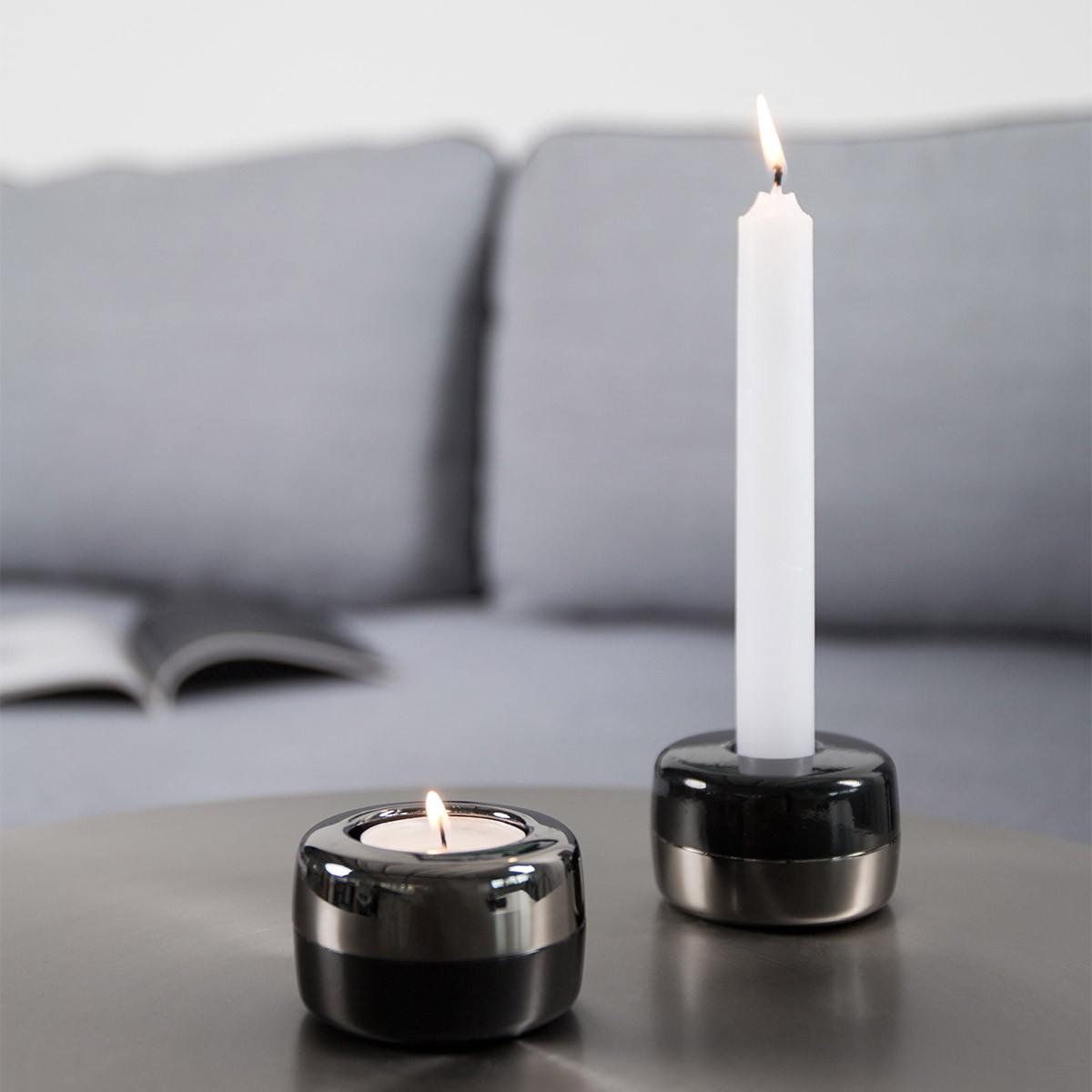 TEO - DUO - Kerzenständer aus Metall (chrom dunkel - schwarz)