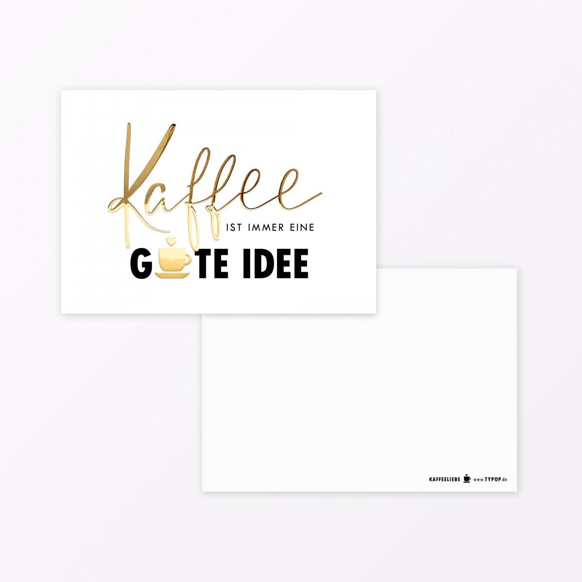 "TYPOP  5-teiliges Set Postkarte ""Kaffee"" A6 mit Goldfolie"
