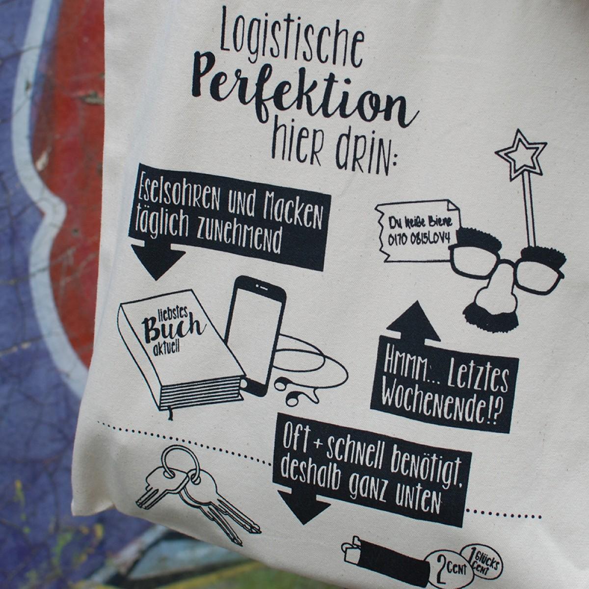 "Frau Schnobel Grafik Baumwolltasche ""Logistik"" Natur"