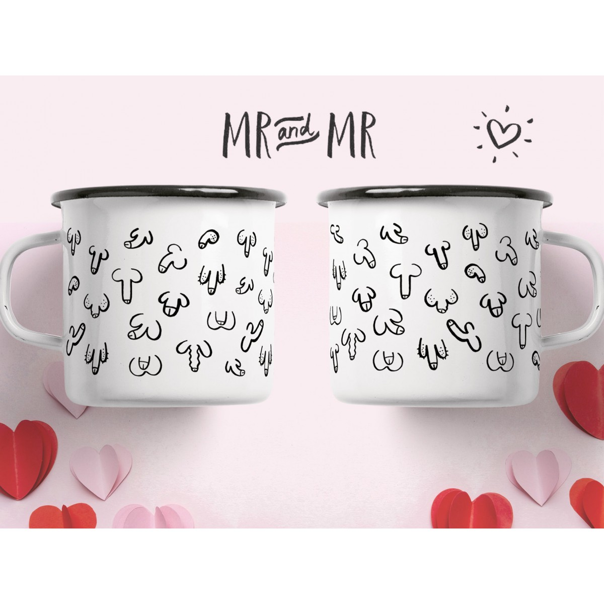 """typealive / Emaillebecher Tasse / Set """"Mr & Mr"""""""