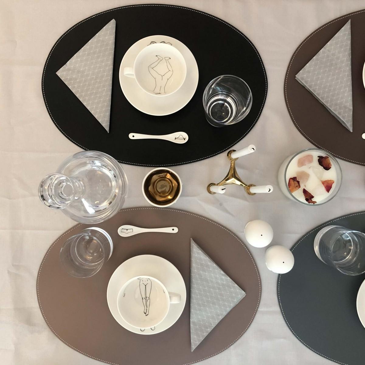 adorist.-Leder Tischset, Lederunterlage, oval, taupe
