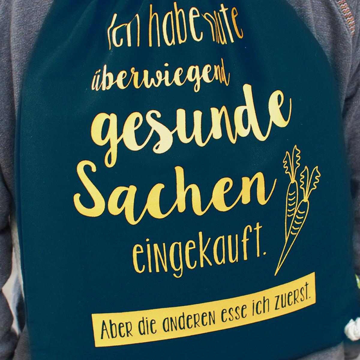 "Frau Schnobel GrafikTurnbeutel ""Gesund"" Dunkelblau"