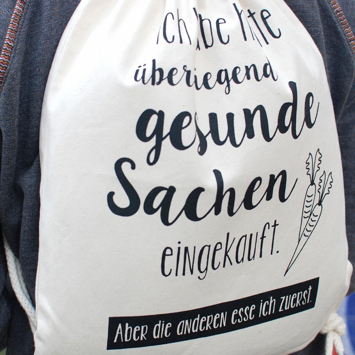 """Frau Schnobel GrafikTurnbeutel """"Gesund"""" Natur"""