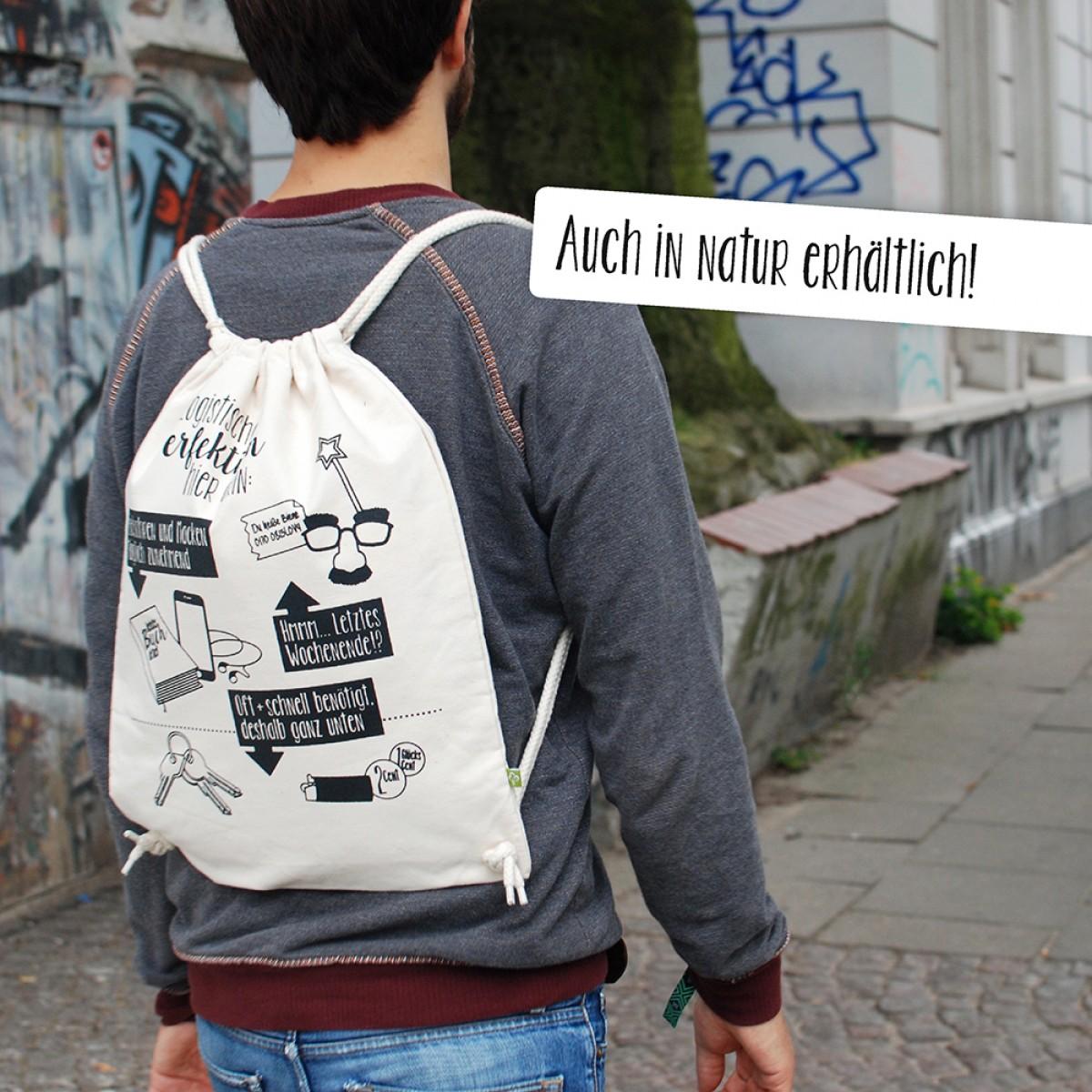 """Frau Schnobel GrafikTurnbeutel """"Logistik"""" Schwarz"""