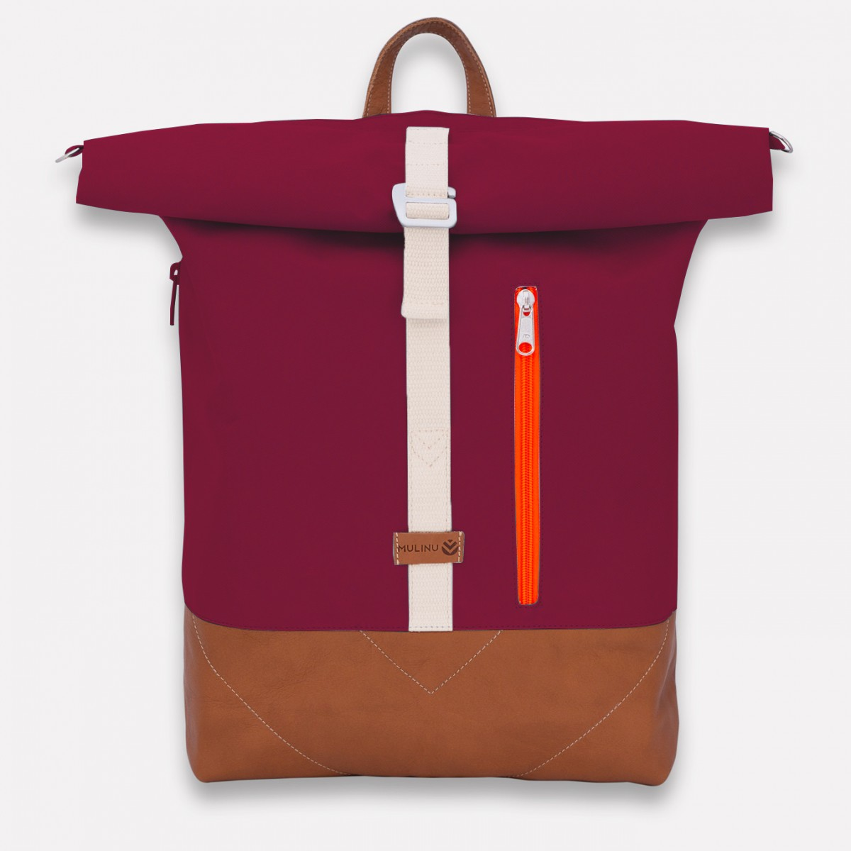 MULINU – Erweiterterbarer Rucksack UNIQUE ALBERT 2 Bordeaux Cognac Leder Neon Orange