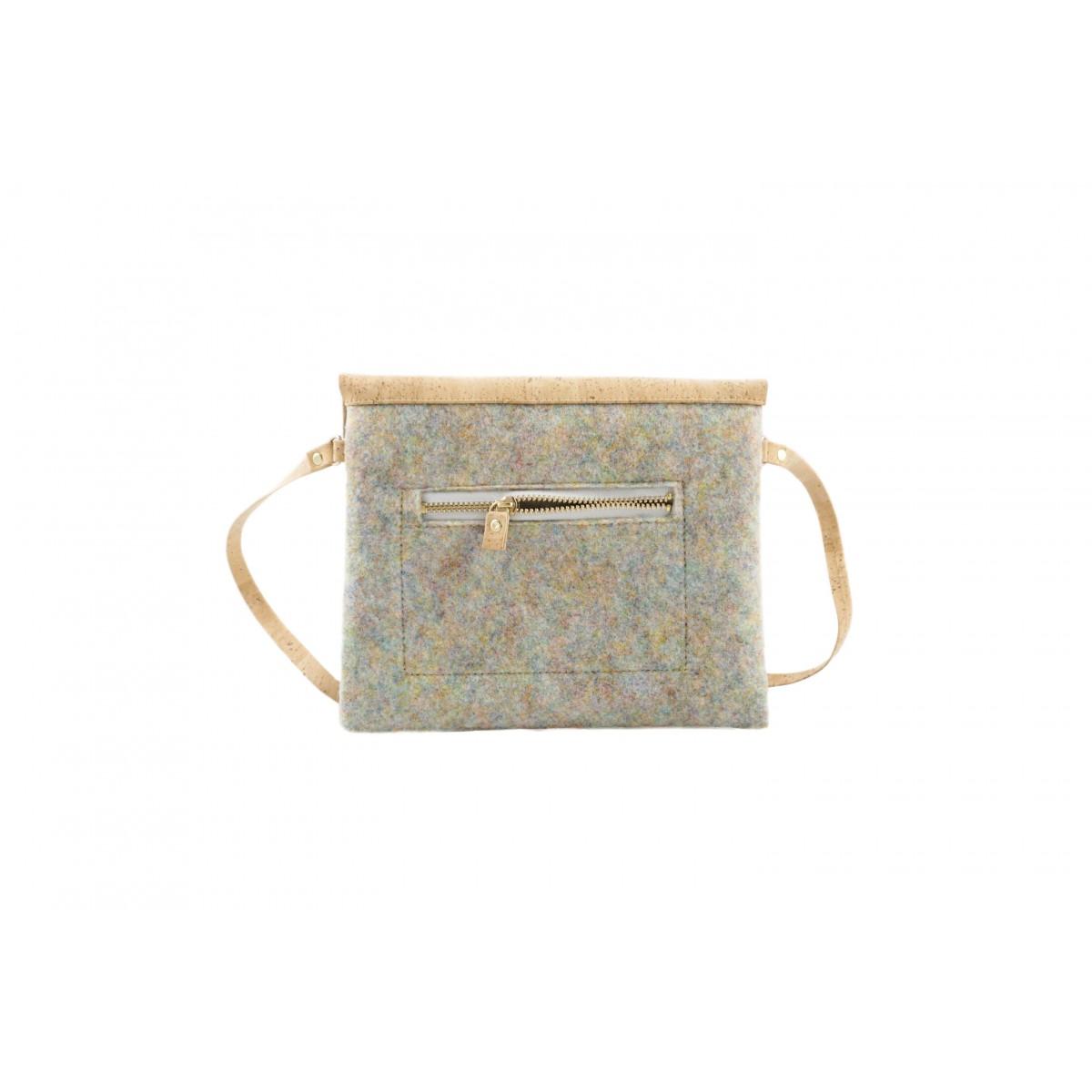 MARILA Handtasche Quadratisch Grau Natur Kork vegan