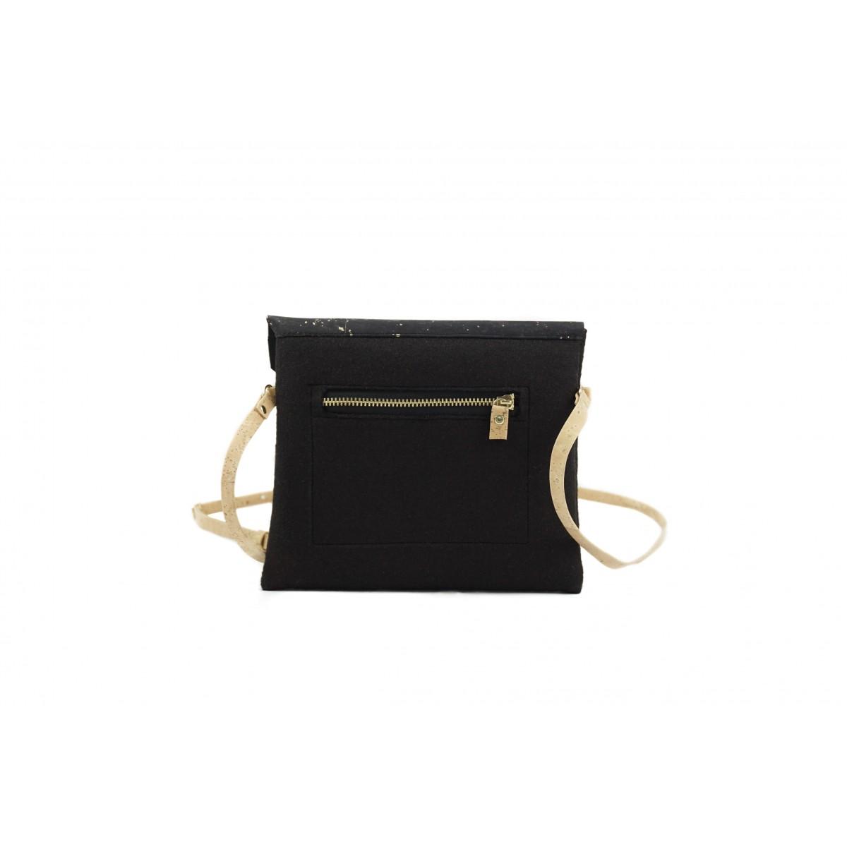 MARILA Handtasche Quadratisch Schwarz Gold Kork vegan