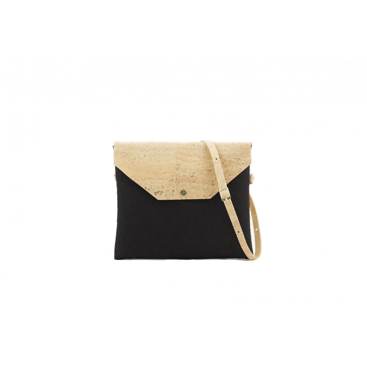 UlStO – MARILA Handtasche Quadratisch Schwarz Natur Kork vegan