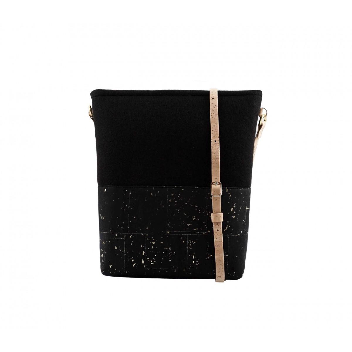 UlStO – PECTINA Handtasche Schwarz Gold Kork vegan