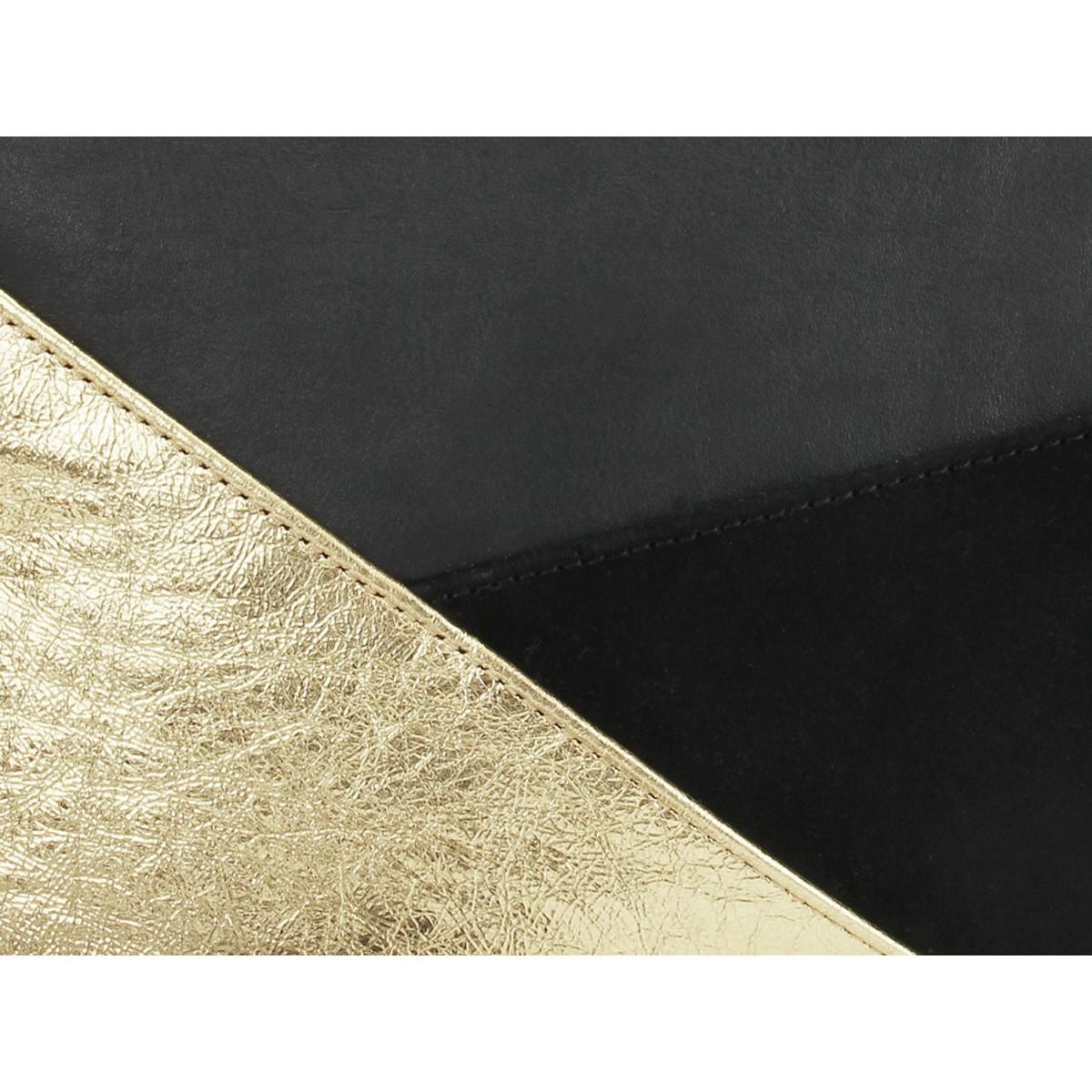 lille mus Geo-Umhängetasche GESINA - Schwarz/Gold aus Leder mit Umhängeriemen