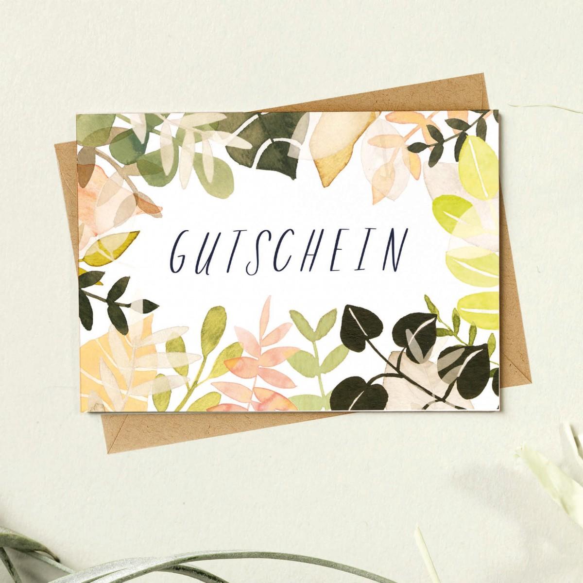 Paperlandscape | Faltkarte | Gutschein | Pflanzen | Blätter | bunt | verschiedene Farben