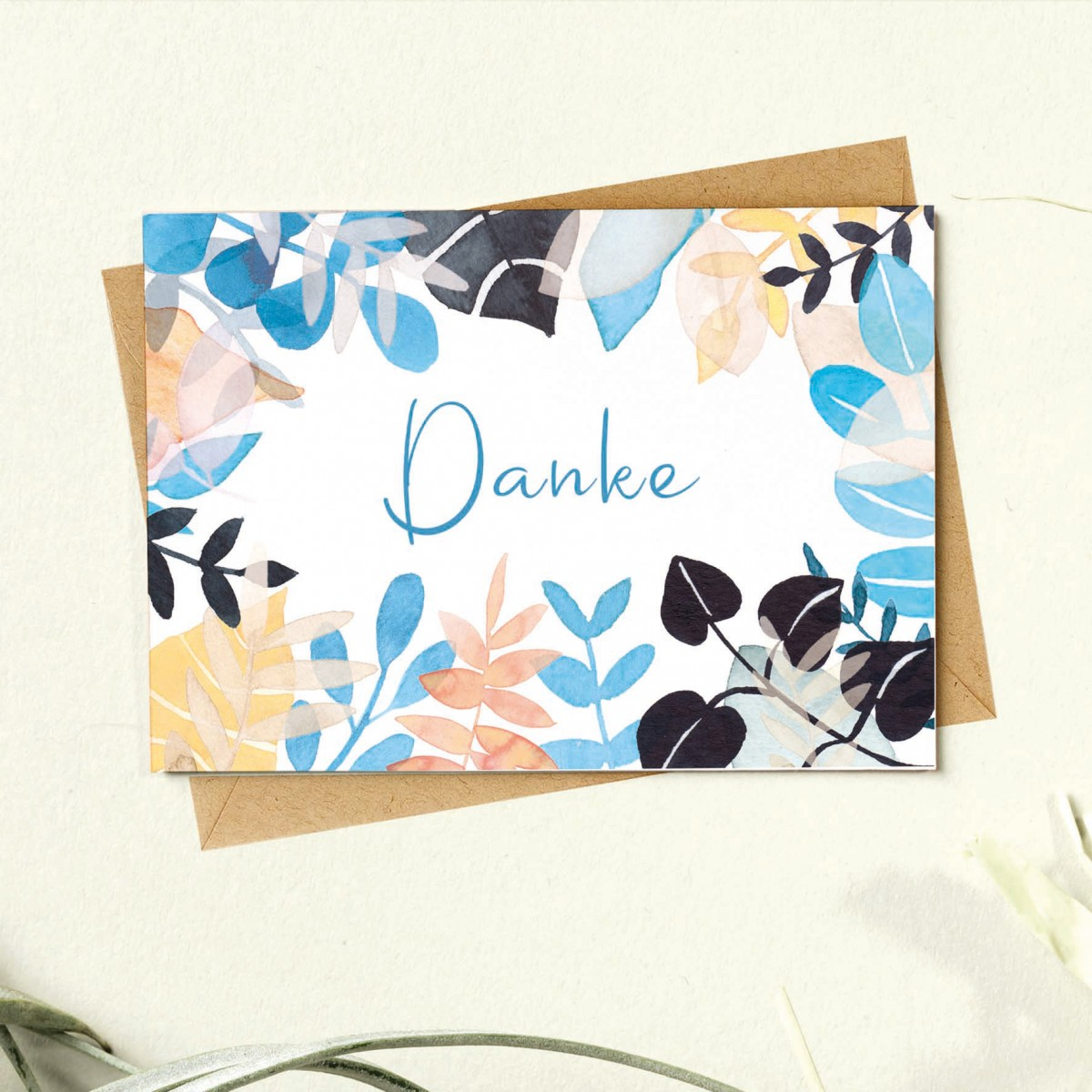 Paperlandscape | Faltkarte | Danke | Blätter | Pflanzen | bunt | verschiedene Farben