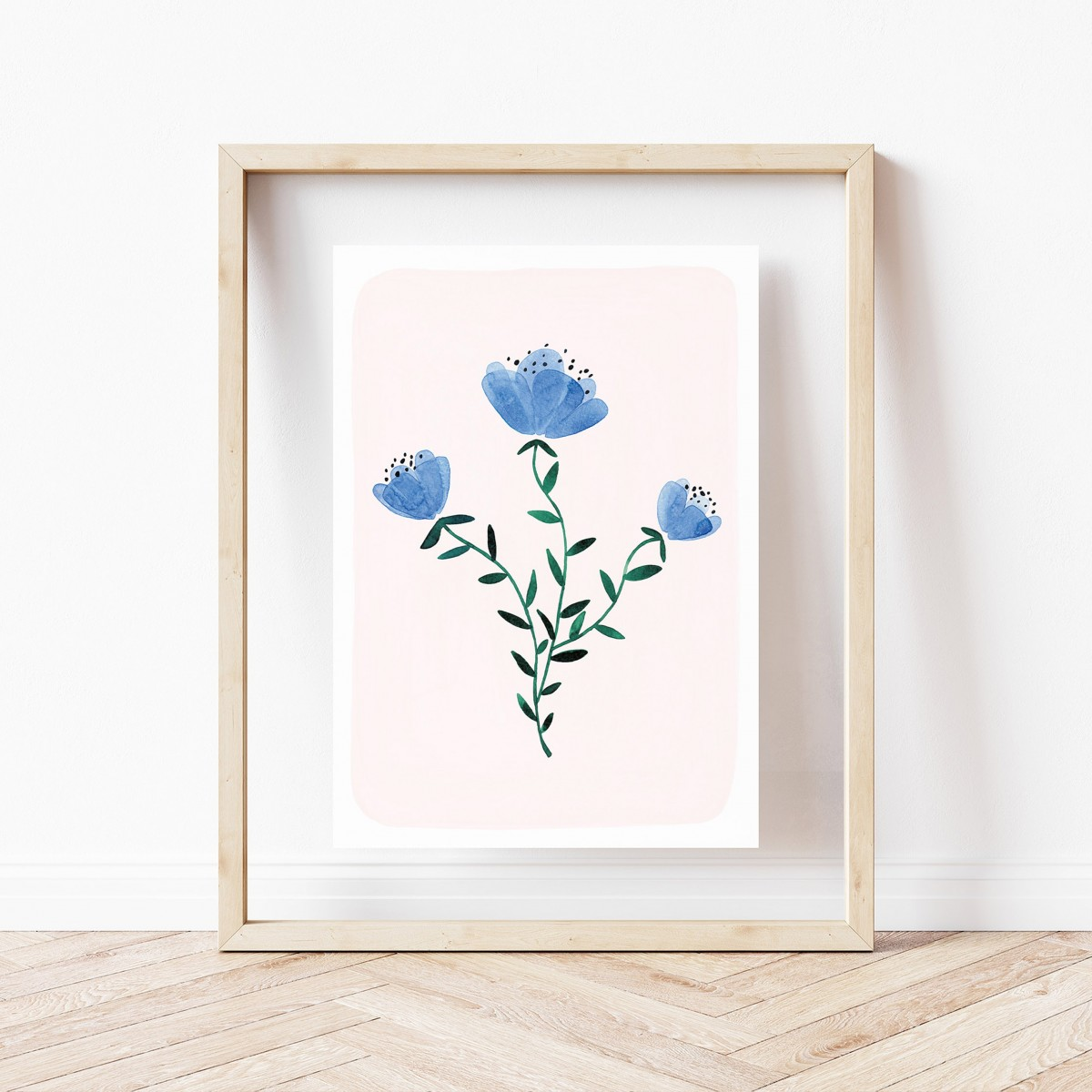 Paperlandscape | Kunstdruck | Wildblumen | Aquarell Pflanzen | verschiedene Größen | blau