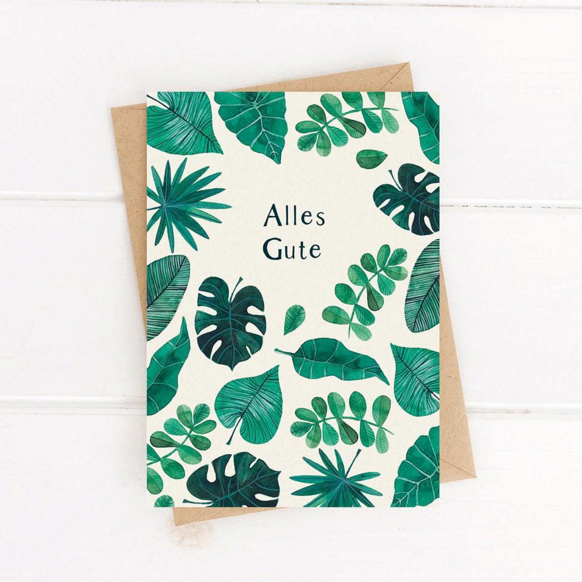 Paperlandscape | Faltkarte | Alles Gute | tropische Blätter | Monstera | Dschungel