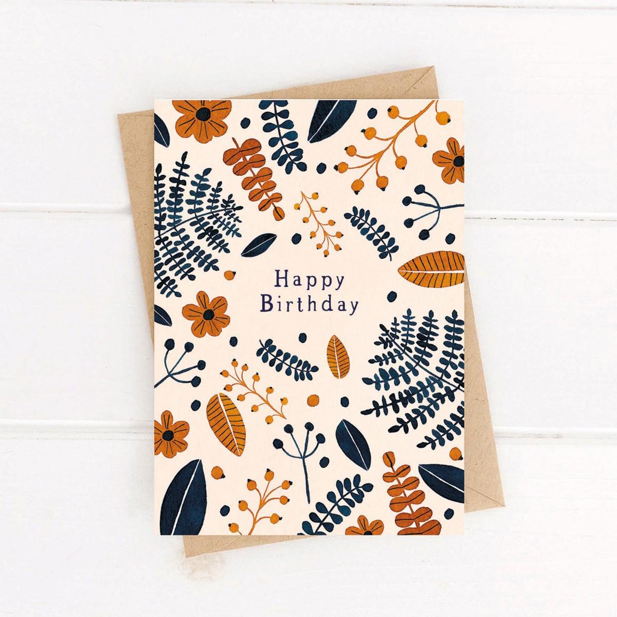 Paperlandscape   Faltkarte   Happy Birthday   Geburtstagskarte   Wilde Blätter   Pflanzen Karte