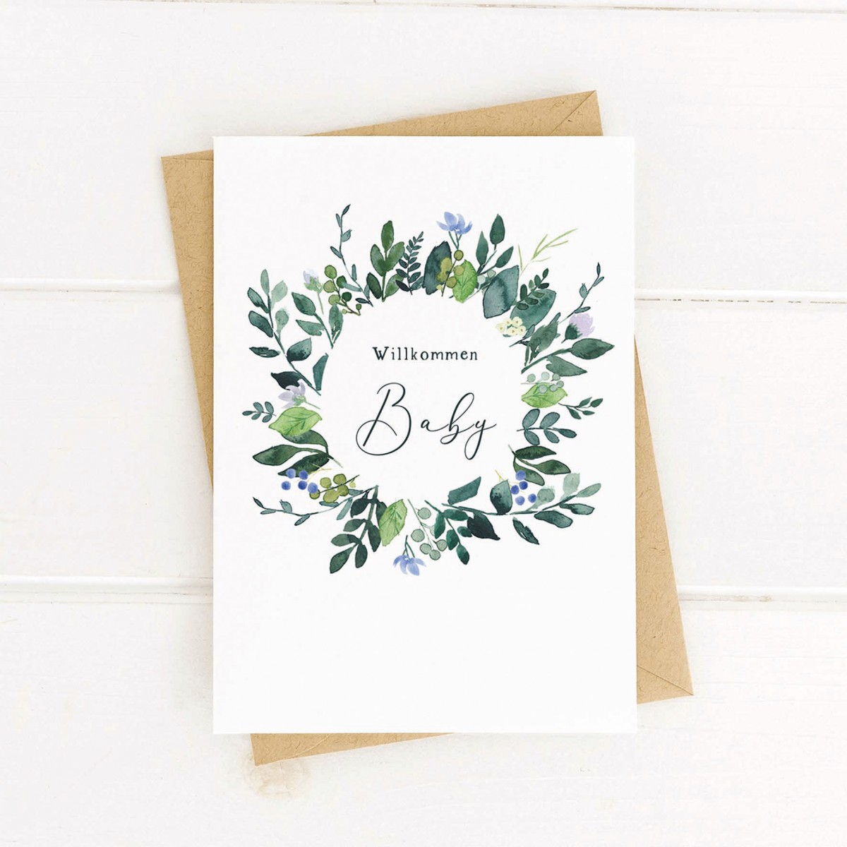 Paperlandscape   Faltkarte   Willkommen Baby   Geburtskarte   Blumenkranz
