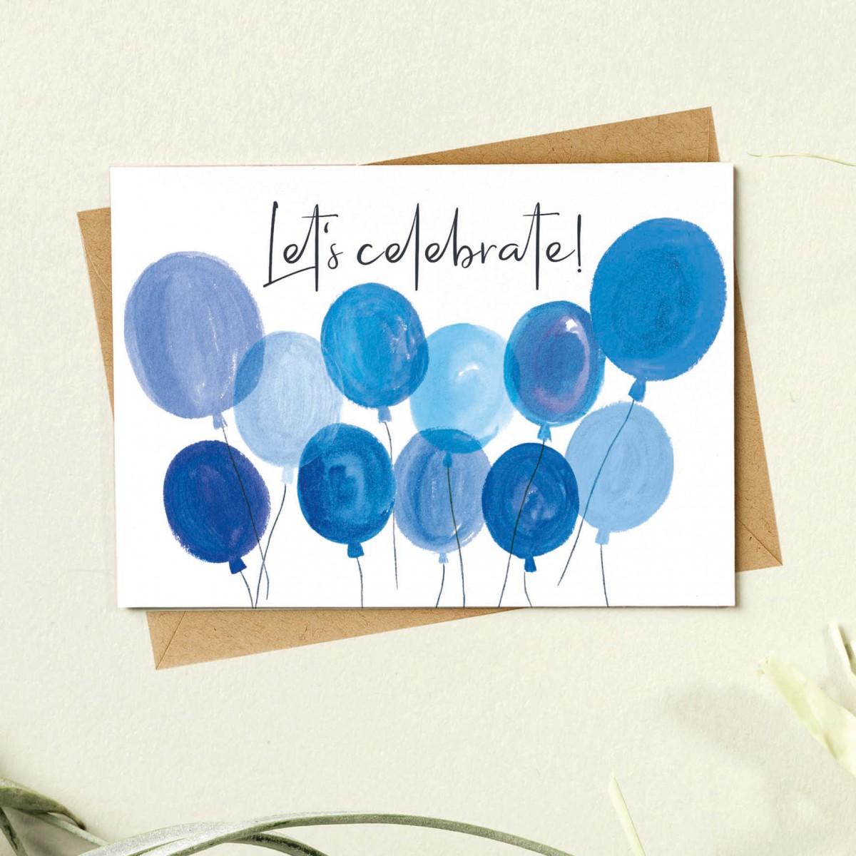 Paperlandscape   Faltkarte   Luftballons   Let's celebrate   Geburtstagskarte