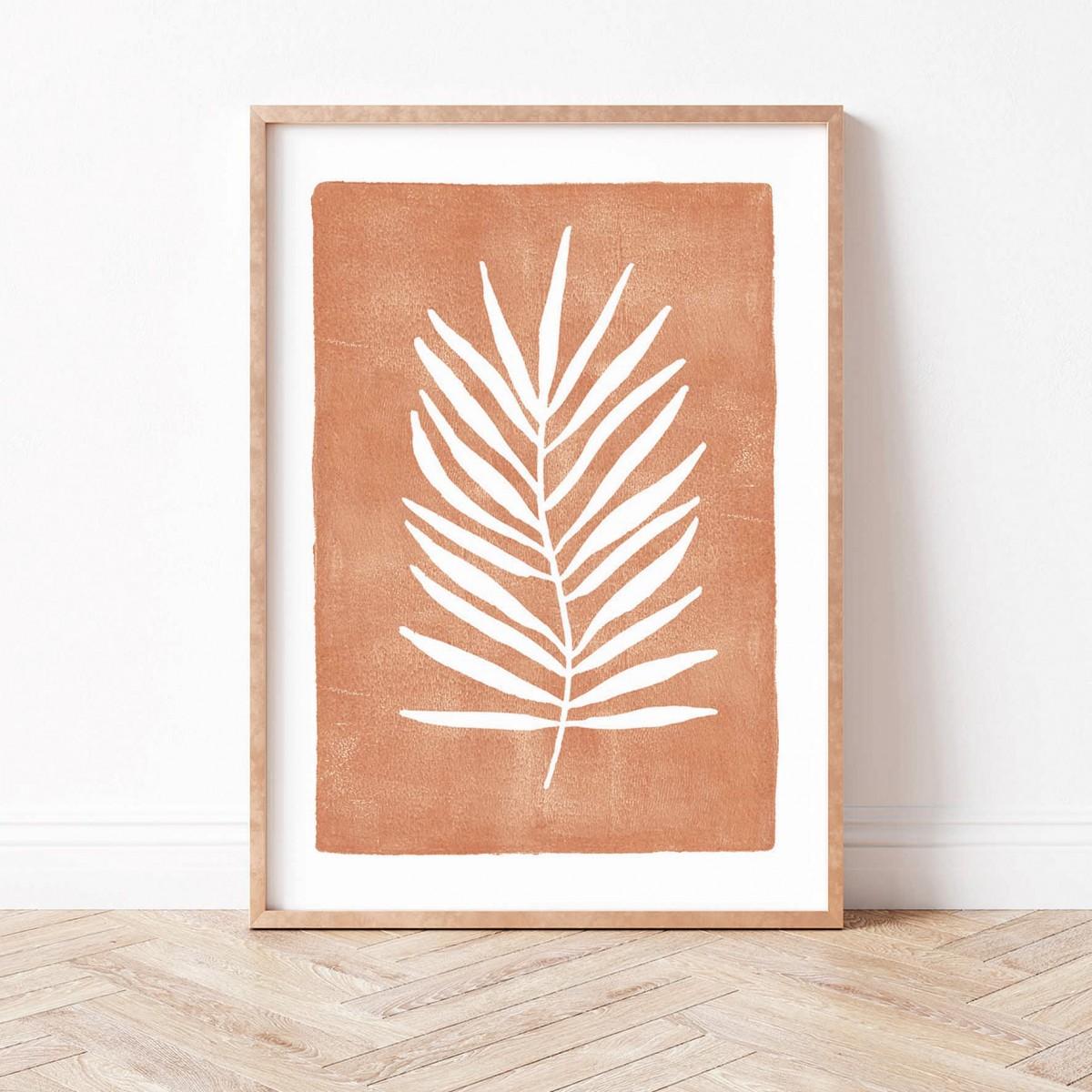 Paperlandscape | Kunstdruck | Palmblatt Terrakotta | abstrakt | Blatt | Pflanzen | verschiedene Größen