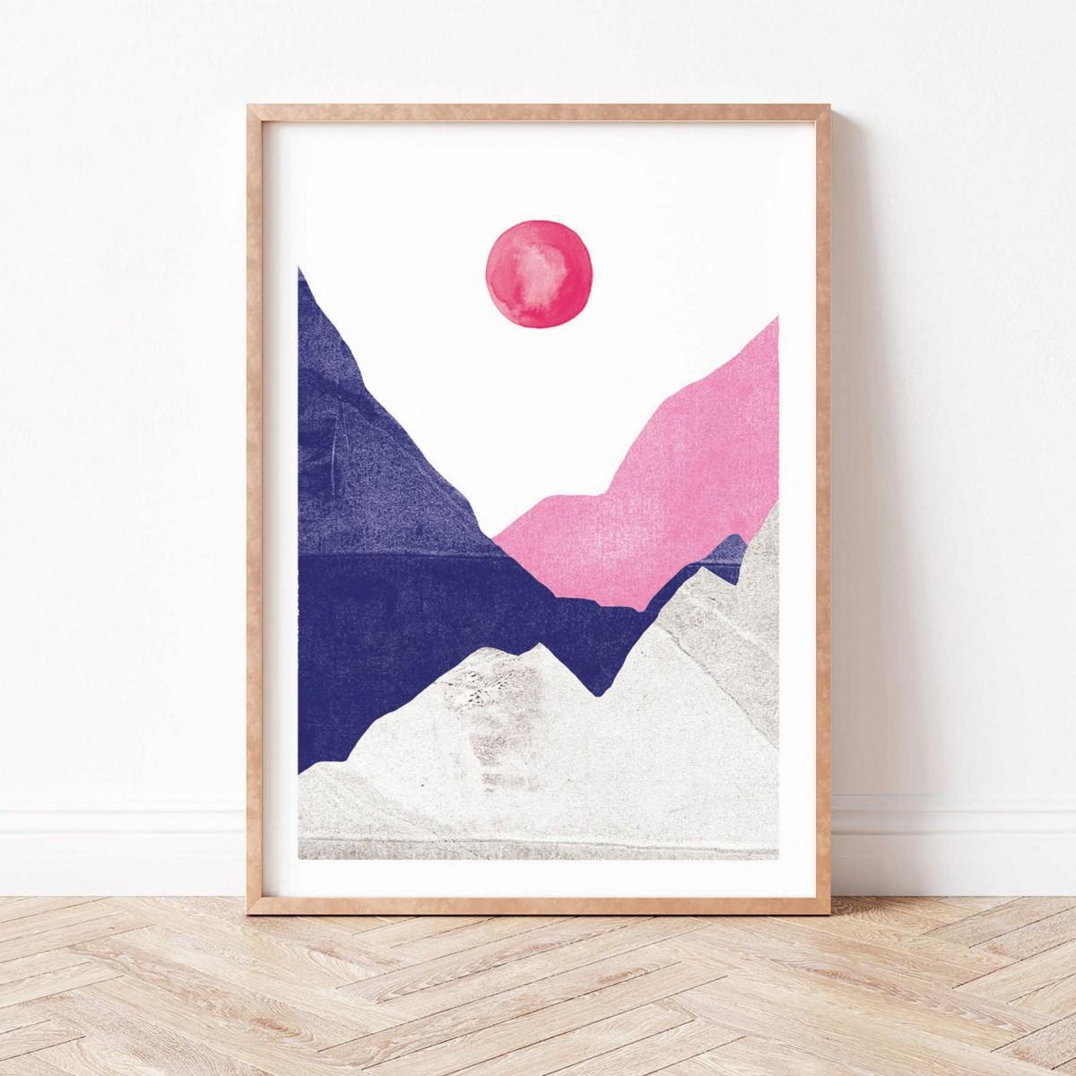 Paperlandscape   Kunstdruck   Berge blau pink   abstrakte Landschaft   verschiedene Größen