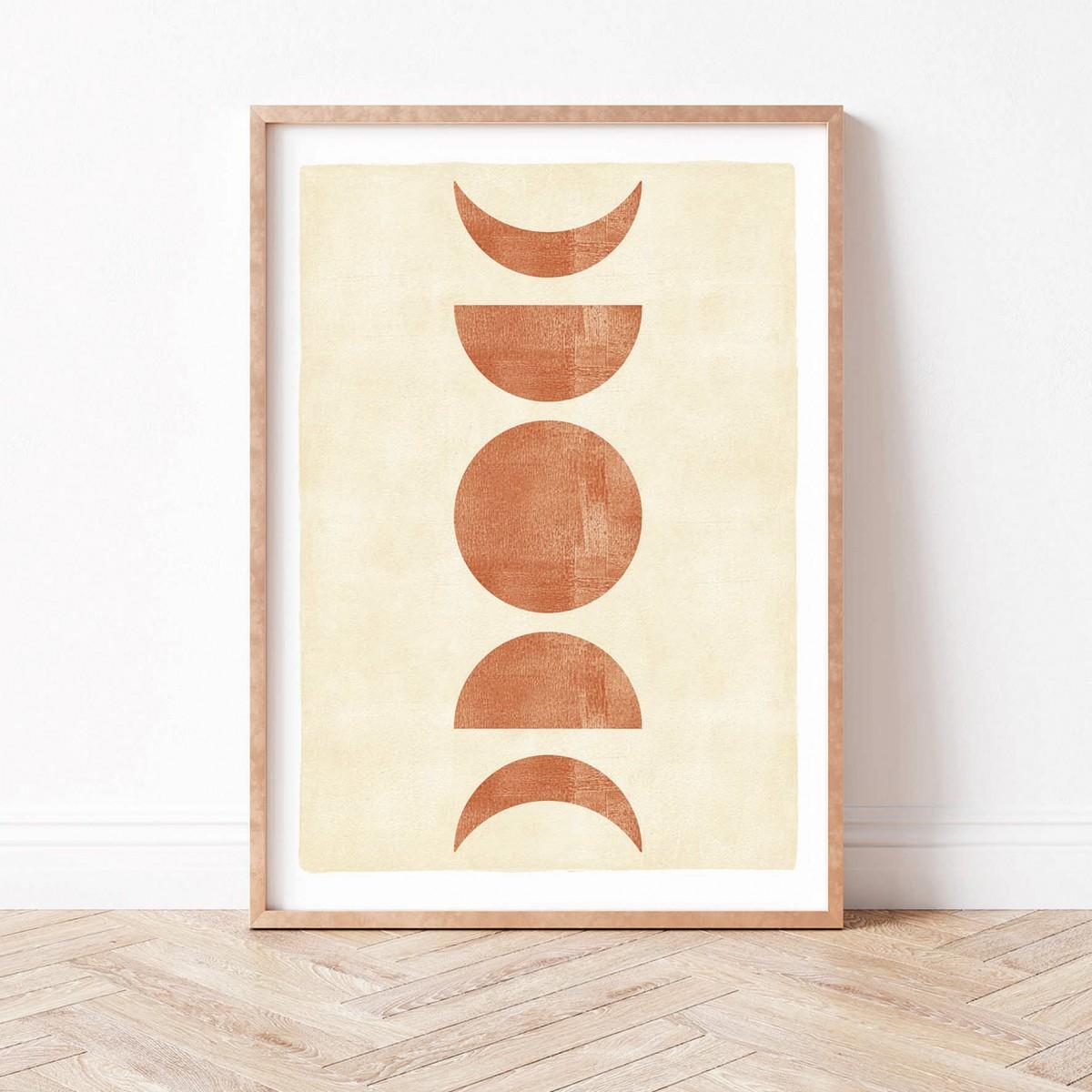 Paperlandscape   Kunstdruck   Mondphasen Terracotta   verschiedene Größen