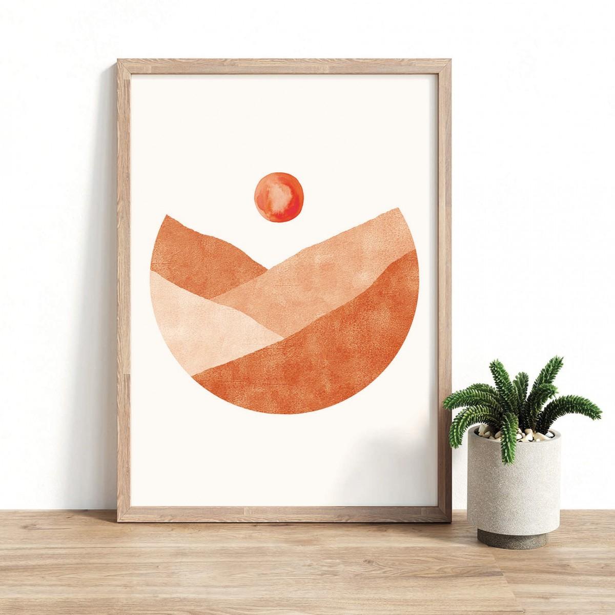 Paperlandscape | Kunstdruck | Landschaft Terrakotta | abstrakt | Kreis | verschiedene Größen