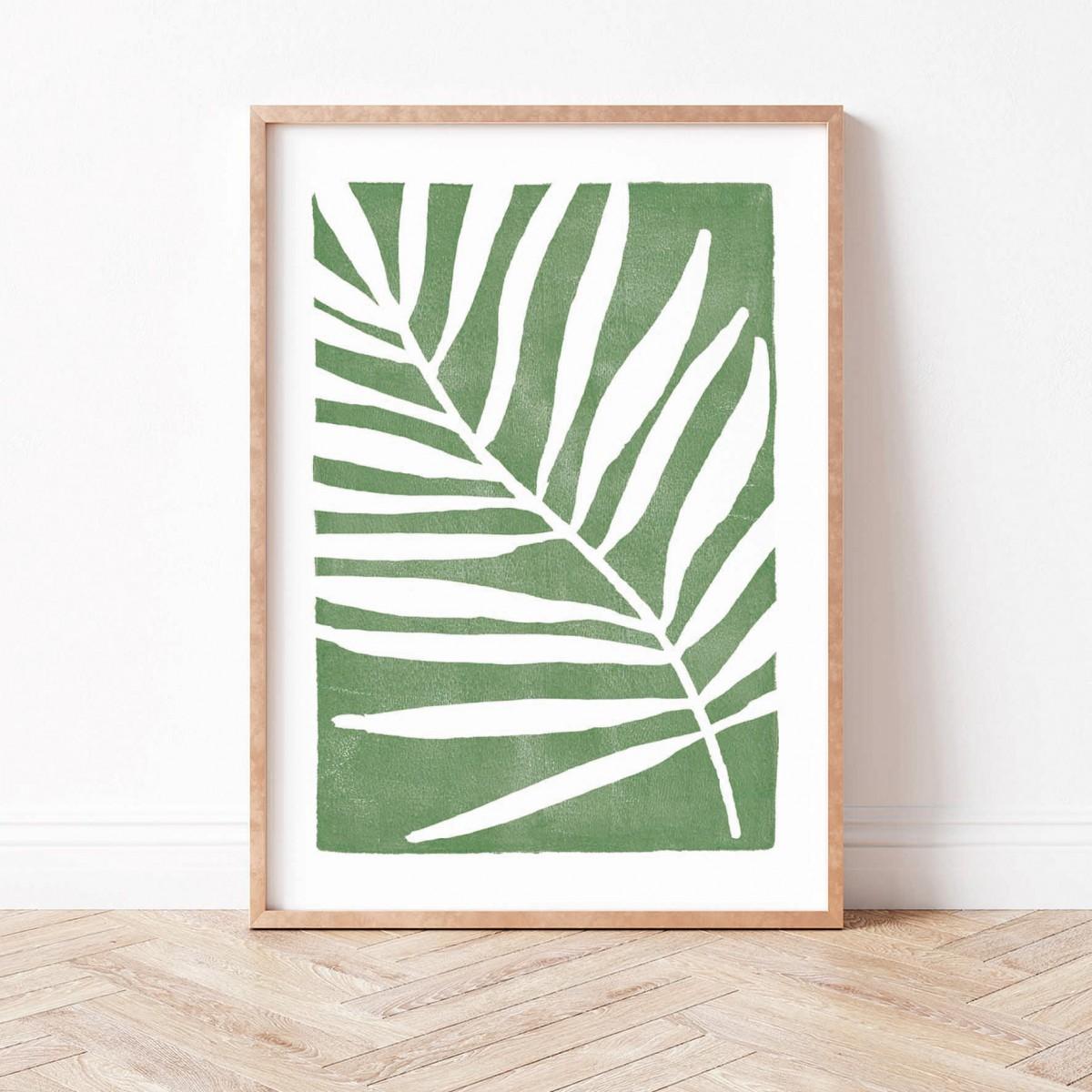 Paperlandscape | Kunstdruck | Palmblatt grün | abstrakt | Blatt | Pflanzen | verschiedene Größen