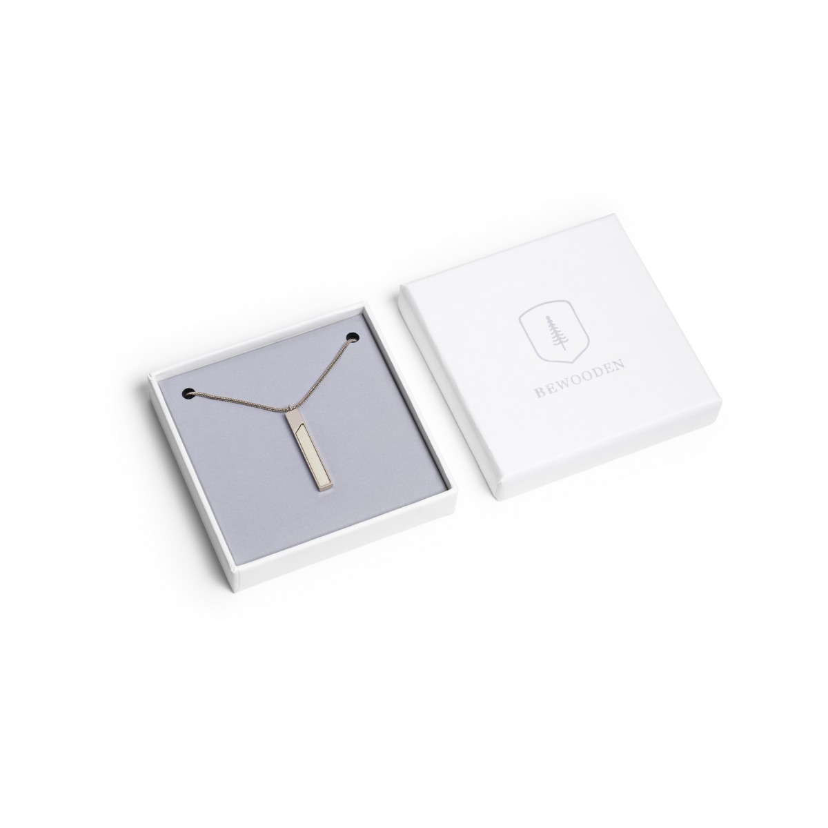 BeWooden Halskette mit Holzdetail - Neue Collection - Bright Necklace Rectangle