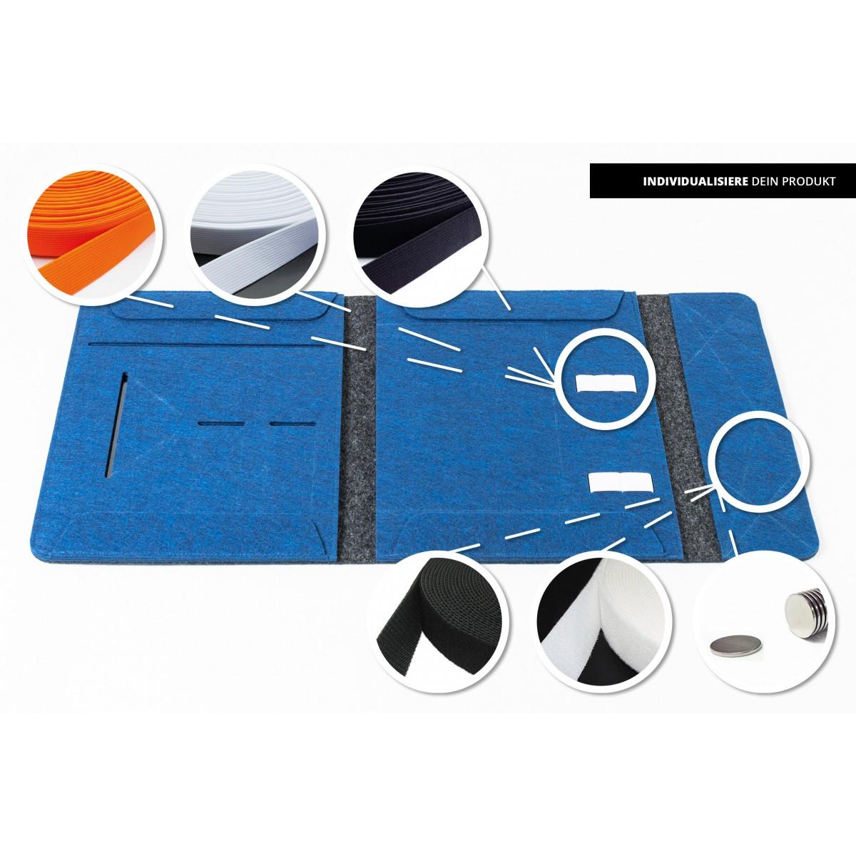 RÅVARE Dokumentenmappe für A4-Dokumente, Kalender, Planer und Tablet ≤12.3″ in grau-blau [HENNE]