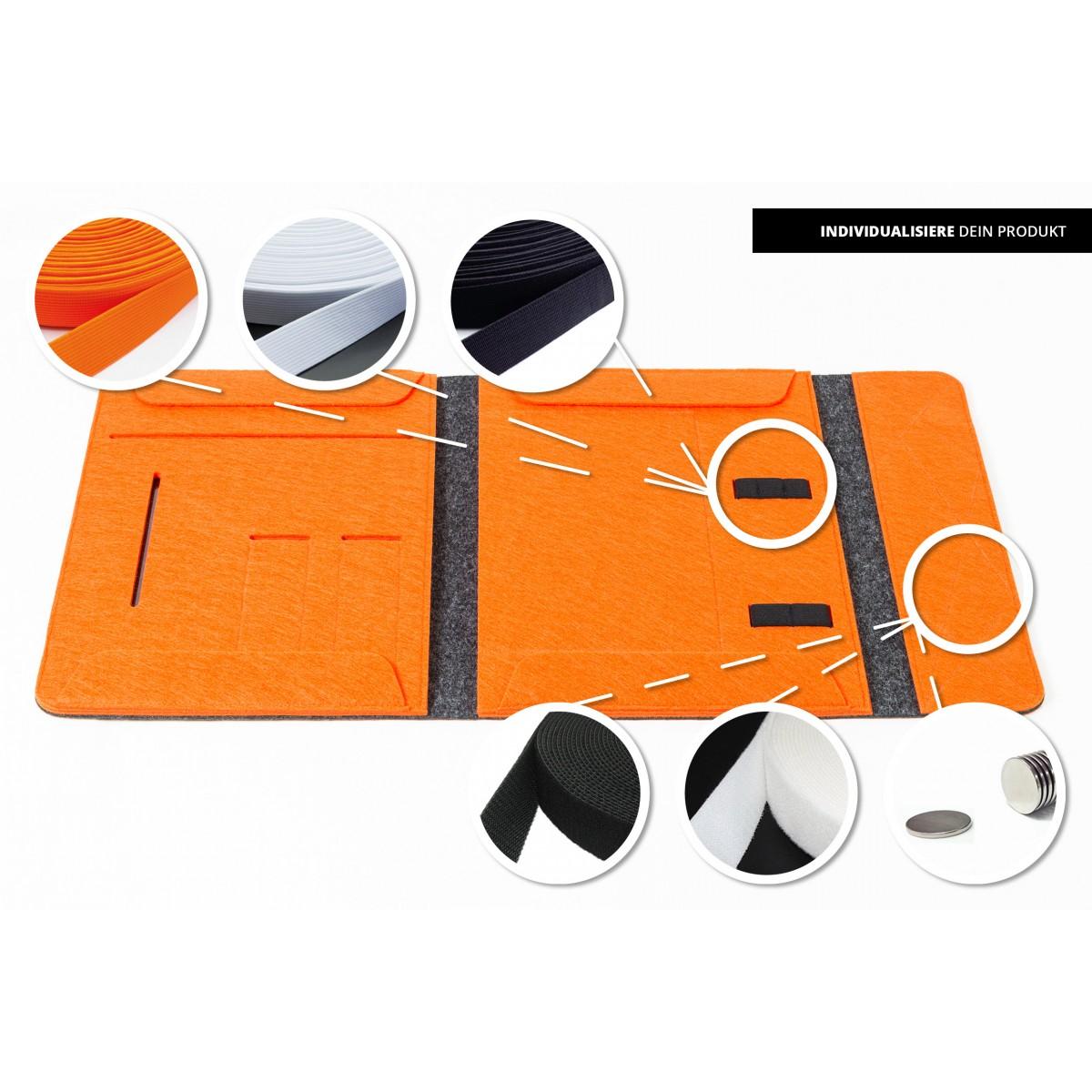 RÅVARE Dokumentenmappe für A4-Dokumente, Kalender, Planer und Tablet ≤12.3″ in grau-orange [HENNE]