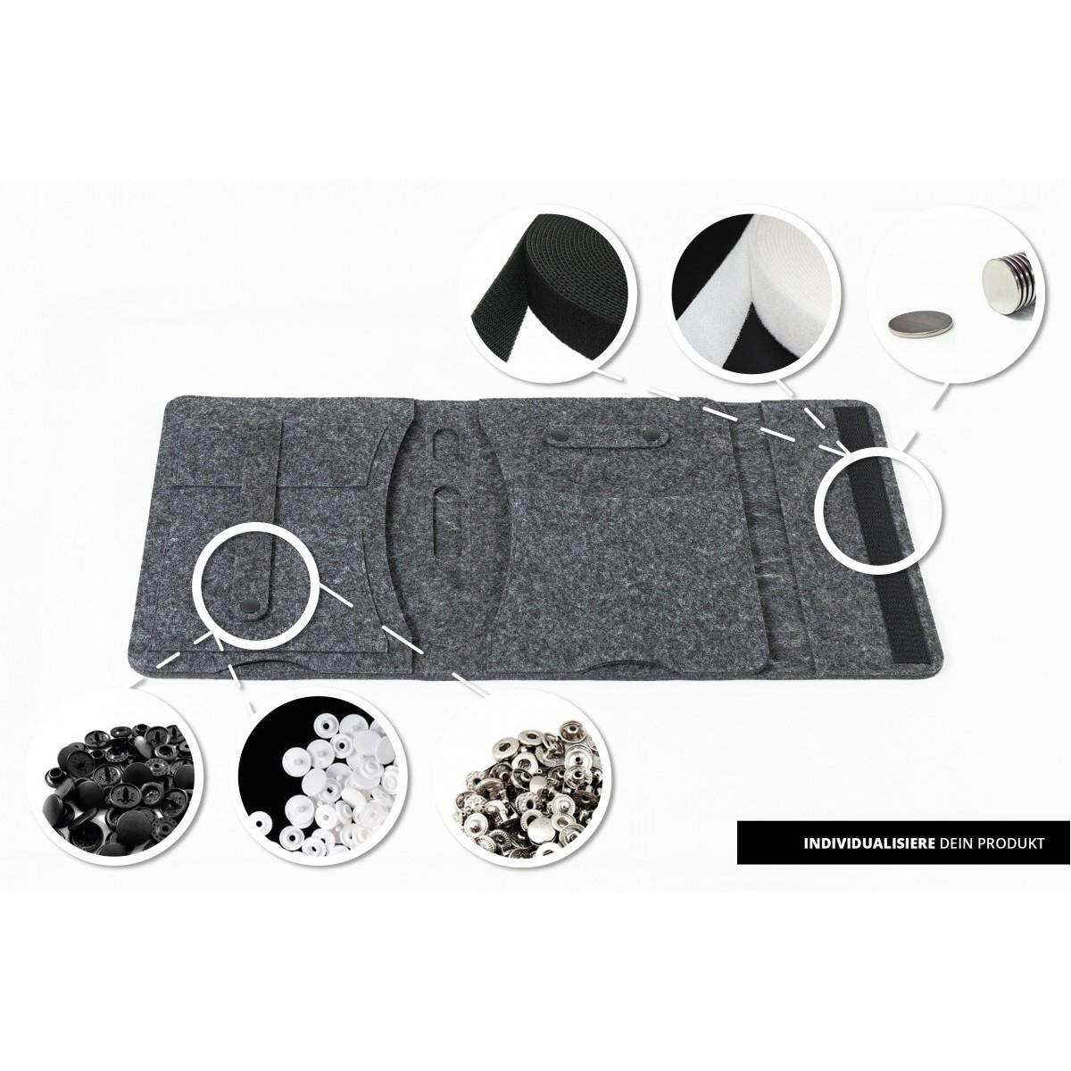 RÅVARE Tablet Organizer für kleine und mittlere Tablets ≤10.1″ mit Schreibblock, iPad, Samsung in grau [KORA M]