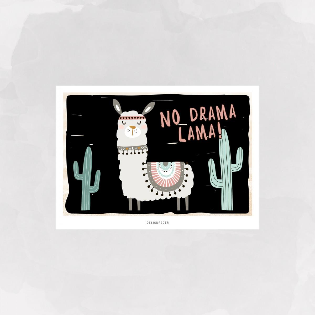designfeder | Postkarte No Drama Lama