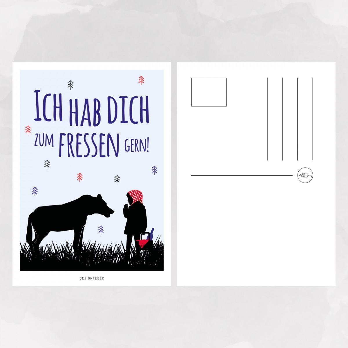 designfeder | Postkarte Ich hab dich zum fressen gern