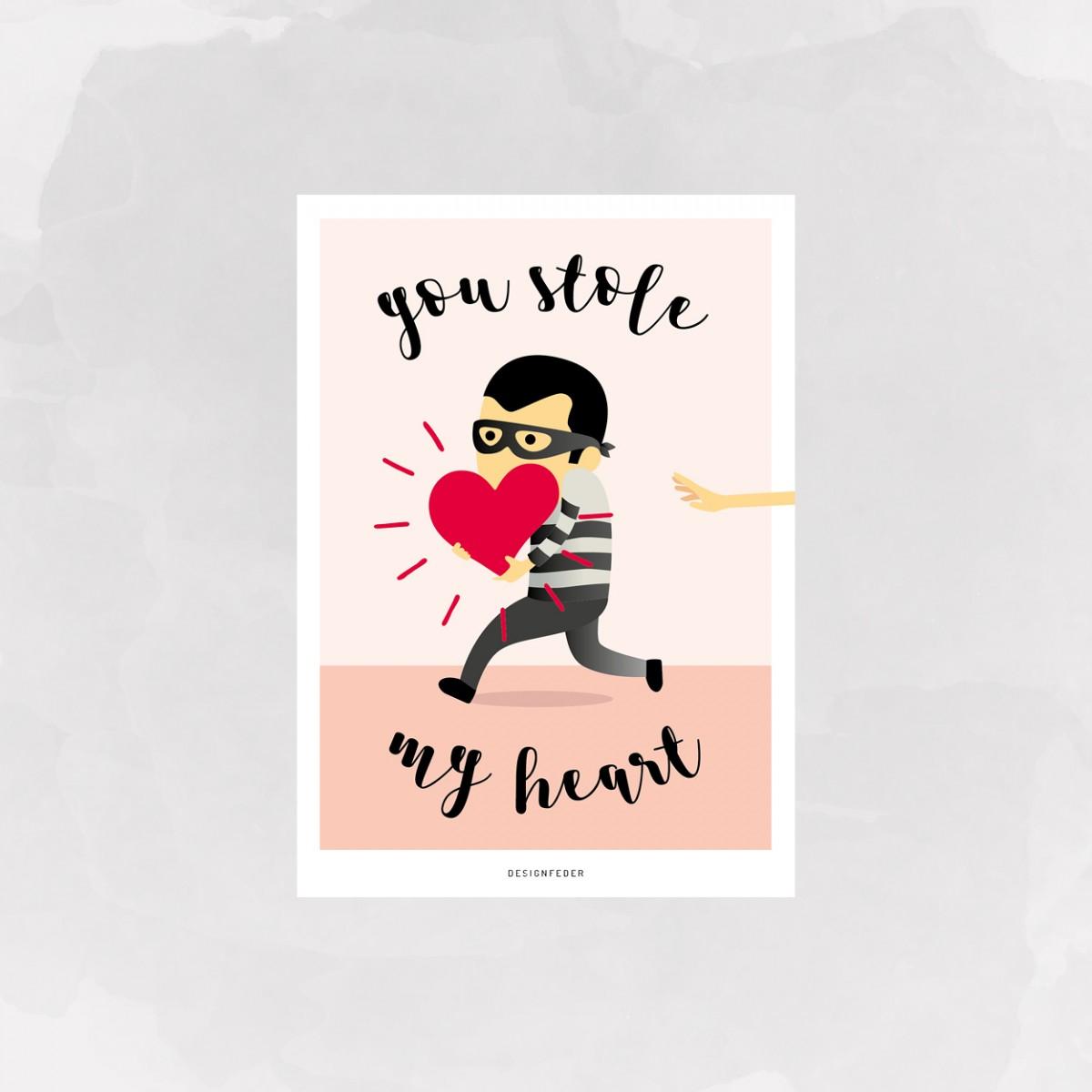 designfeder | Postkarte Stole my Heart