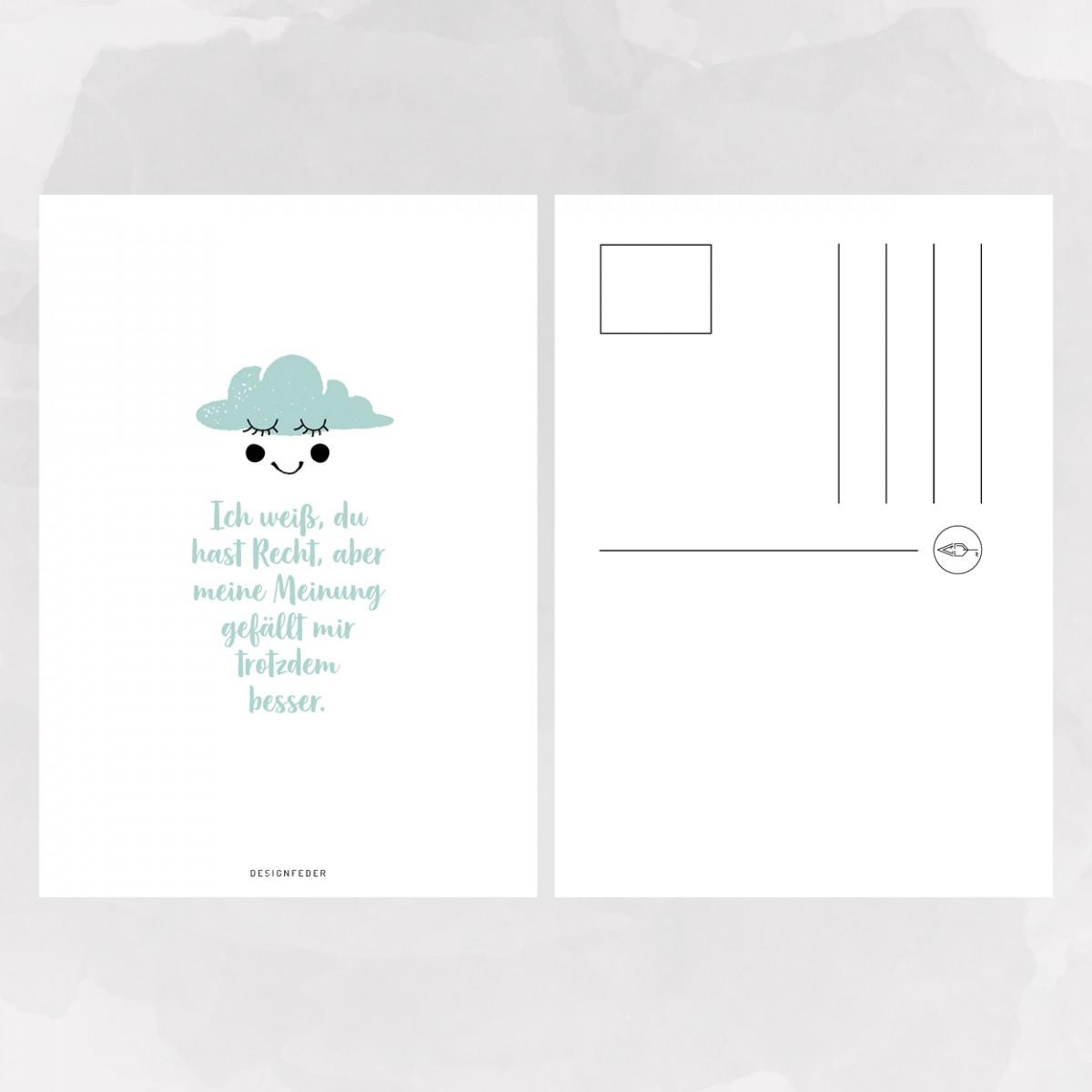 designfeder | Postkarte Meine Meinung gefällt mir besser