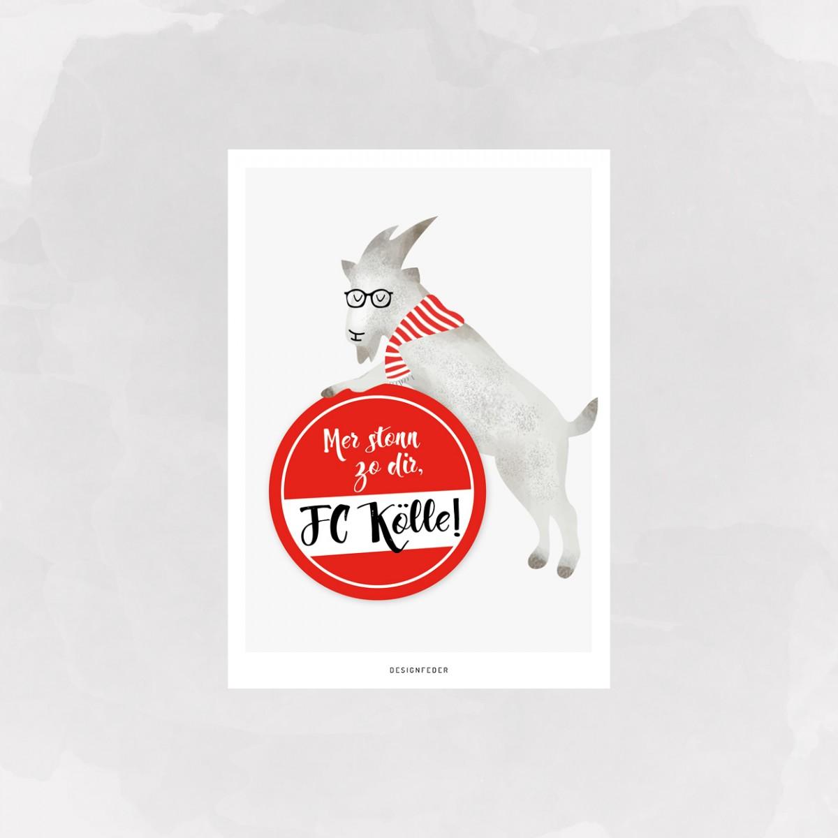 designfeder | Postkarte 1. FC Köln | Hennes
