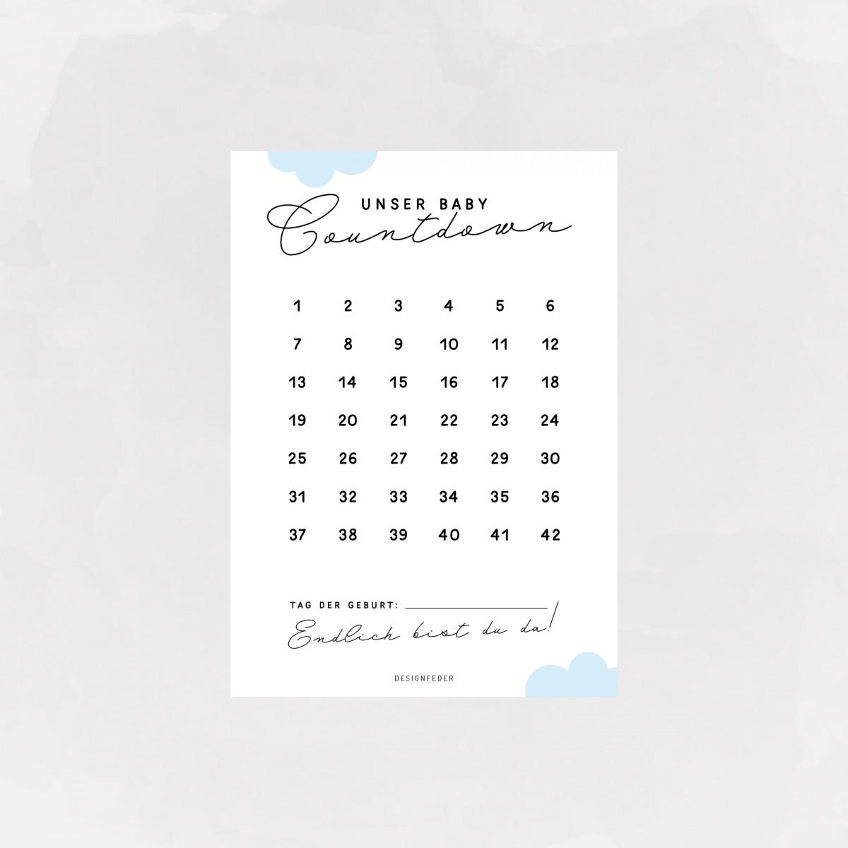 designfeder | Postkarten Baby Countdown + Papa